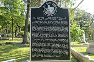 """A state historical marker erected in 2009 near Charlotte Allen's grave in Houston's historic Glenwood Cemetery summarizes the life of the woman known as the """"Mother of Houston."""""""