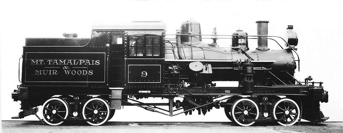 This circa 1921 photo shows the last steam engine built for Mount Tamalpais just after it was completed. No. 9 was the biggest, most powerful engine the Scenic Railway ever owned. The photo was taken just before it was shipped across the country to Mill Valley, Ca.