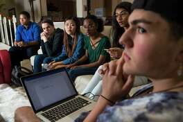 Katy area students Marcel McClinton, 16, Jack Reid 15, Kelly Choi, 17, Ariel Hobbs, 20, Pavitra Kotecha, 15, Noah Holbein, 15, work on ideas to implement at the March For Our Lives. The main march will take place in downtown Houston on March 24, however a smaller protest is planned for The Woodlands from 4:30-6:30 p.m. Saturday. The goal of the protests is to send a message intended to reduced gun violence and implement gun control laws. ( Marie D. De Jesus / Houston Chronicle )