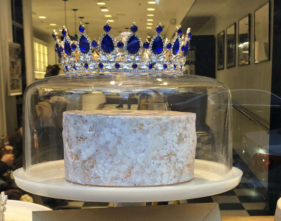 Arethusa's prizewinning blue cheese in the window of Arethusa Farm Dairy in New Haven. Photo: Sheryl Shaker