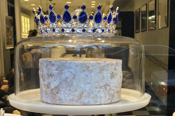 Arethusa's prizewinning blue cheese in the window of Arethusa Farm Dairy in New Haven.