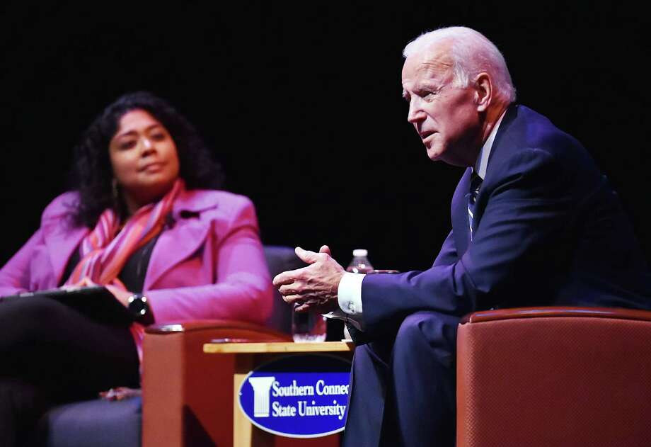 Former Vice President Joe Biden engages in a moderated conversation with WNPR Lucy Nalpathanchil at the 20th annual Mary and Louis Fusco Distinguished Lecture Series at the John Lyman Center for the Performing Arts at Southern Connecticut State University, Friday, March 23, 2018 Photo: Catherine Avalone, Hearst Connecticut Media / New Haven Register