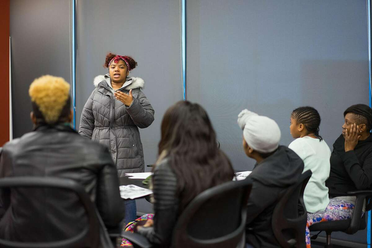 Destiny Shabazz speaks about her experience with gun violence at the East Oakland Youth Development Center in Oakland, Calif. on Wednesday, March 21, 2018. Nine students from Oakland will be attending the March for our Lives event in Washington D.C. where they will be protesting gun violence.
