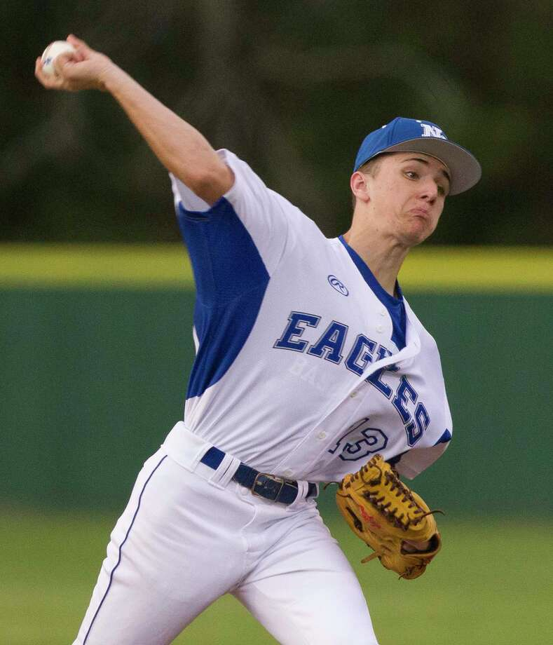 New Caney starting pitcher Blain Elliott (13) throws in the first inning of a high school baseball game during the Don Newcomb Classic, Tuesday, March 1, 2018, in New Caney. Photo: Jason Fochtman, Staff Photographer / © 2018 Houston Chronicle