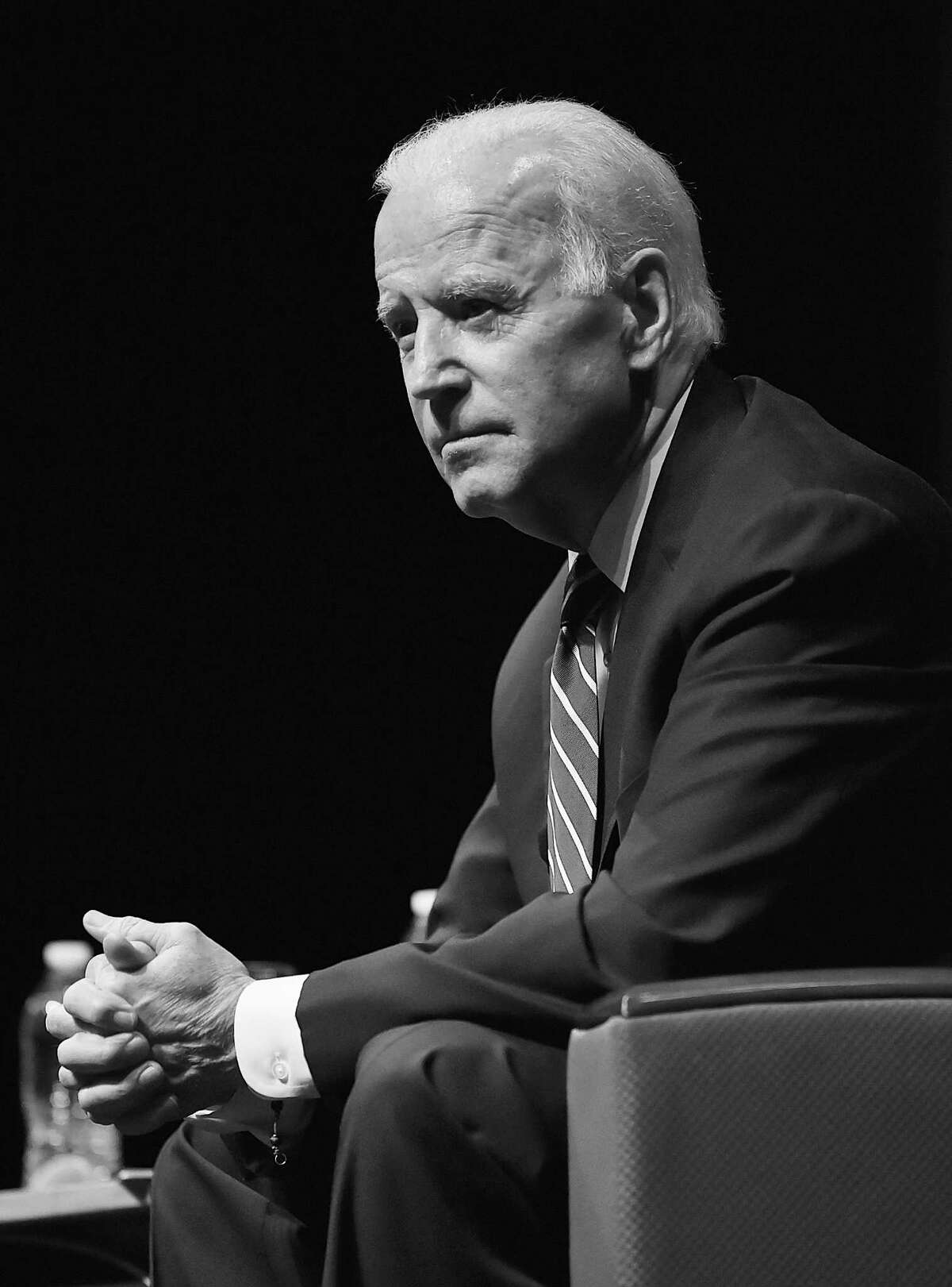 Former Vice President Joe Biden engages in a moderated conversation with WNPR Lucy Nalpathanchil at the 20th annual Mary and Louis Fusco Distinguished Lecture Series at the John Lyman Center for the Performing Arts at Southern Connecticut State University, Friday, March 23, 2018