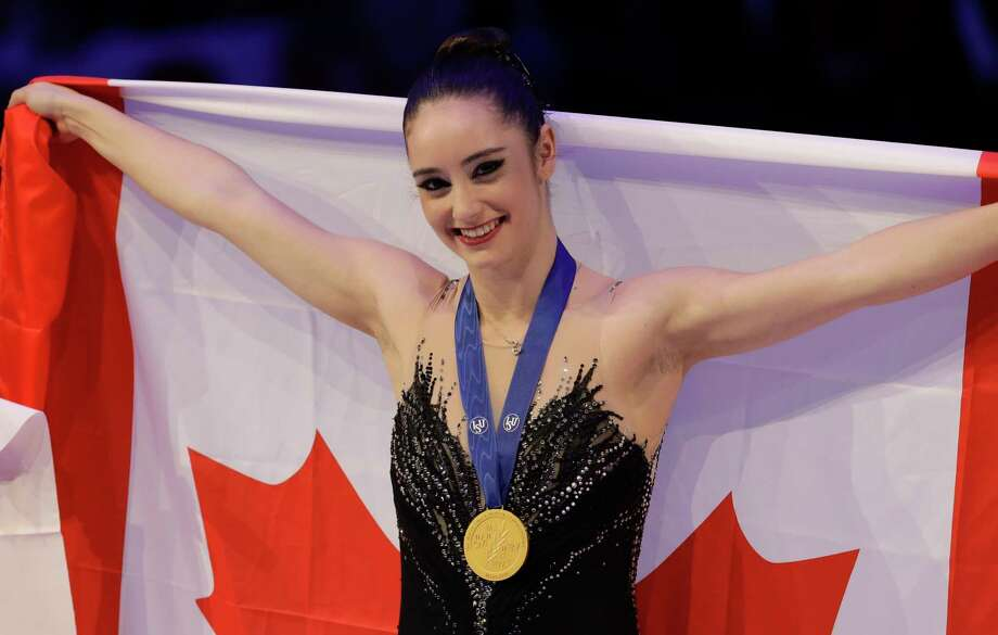 Kaetlyn Osmond of Canada celebrates after winning the women's free skating program, at the Figure Skating World Championships in Assago, near Milan, Italy, Friday, March 23, 2018. (AP Photo/Luca Bruno) Photo: Luca Bruno / AP
