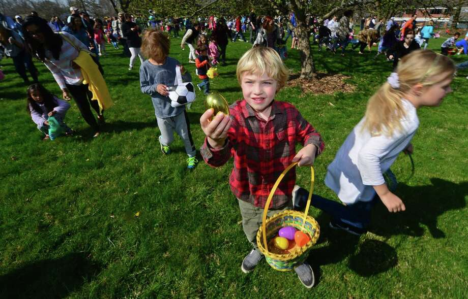 Hundreds of children including Jack Goodwin, 5, participate in the Rowayton Civic Associations annual Easter Egg Hunt last year at the Rowayton Community Center. Photo: Erik Trautmann / Hearst Connecticut Media / Norwalk Hour