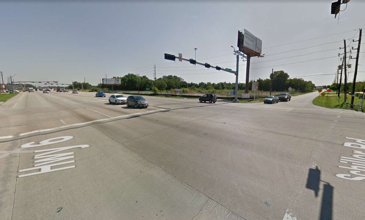 The intersection of State Highway 6 and Schiller Road, where a 60-year-old woman died Saturday after being hit by a man fleeing police in a car that was reported stolen.