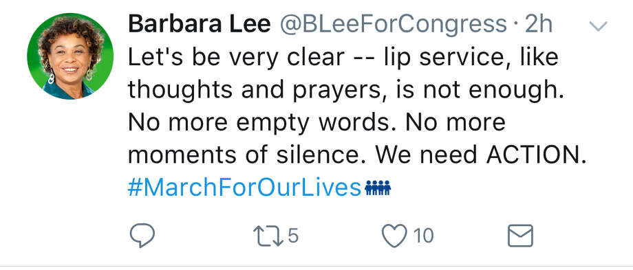 Many members of California's congressional delegation expressed support for the March for Our Lives on Twitter Saturday. Photo: Screenshot Via Twitter