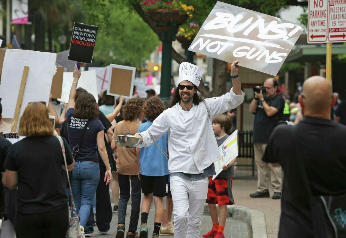 March For Our Lives San Antonio starts at City Hall and proceeds down Houston Street to Alamo Plaza on March 24, 2018.