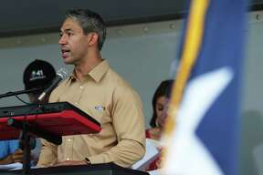 Mayor Ron Nirenberg addresses the crowd as hundreds take part in the 22nd Annual Cesar E. Chavez March for Justice on Saturday, Mar. 24, 2018. Ernest Martinez of the Cesar E. Chavez Legacy & Educational Foundation took over for his father, Jaime Martinez, who died last year after a prolonged battle with cancer. The grand marshal was Andres Chavez, the grandson of the famed American labor leader and civil rights activist.