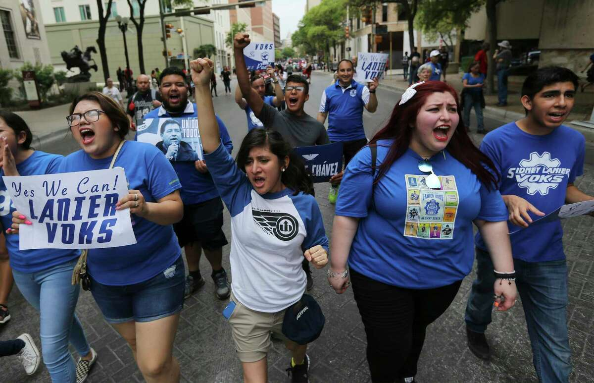 To honor the students and staff from Stoneman Douglas High School in Parkland, Florida who were killed in a shooting, Lanier High School students Lytzy Perez (from second from left), Rachel Rangel, Kennedy Martinez and Luis Avila help lead the 22nd Annual Cesar E. Chavez March for Justice on Saturday, Mar. 24, 2018. Ernest Martinez of the Cesar E. Chavez Legacy & Educational Foundation took over for his father, Jaime Martinez, who died last year after a prolonged battle with cancer. The grand marshal was Andres Chavez, the grandson of the famed American labor leader and civil rights activist.