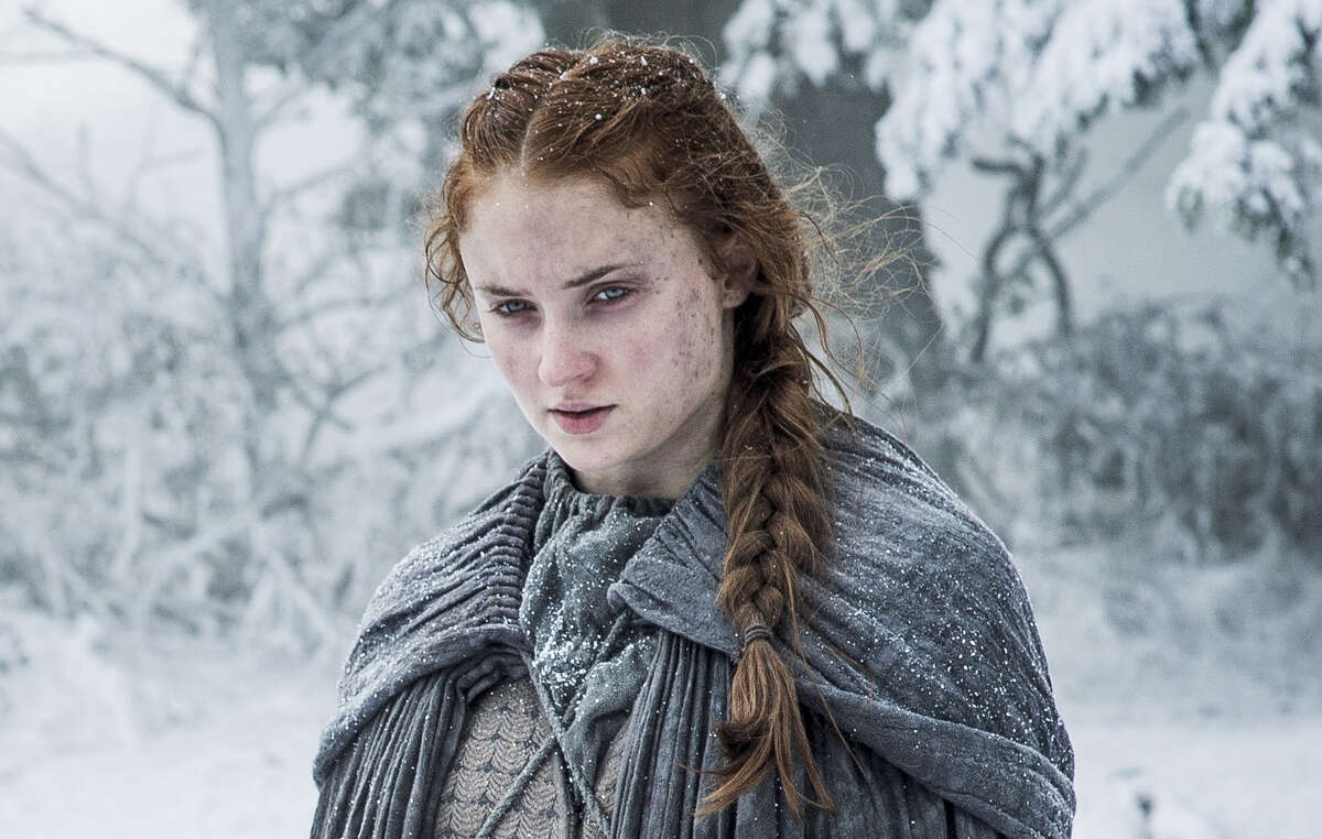 """""""There's a quite earthy, pungent smell sometimes,"""" """"Game of Thrones"""" designer Michele Clapton says of the show's costumes. Sansa Stark (Sophie Turner) braved the elements to escape a sadist."""