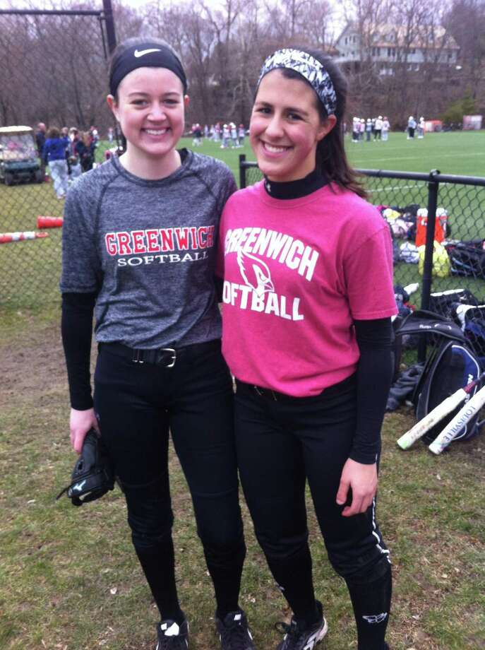 Emily Delepine, left, and Sophia Prieto are senior captains on the Greenwich High School softball team. Photo: David Fierro / Hearst Connecticut Media