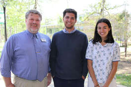 Pictured from left are John Cooper School English teacher Peter Elliott with award recipients in the national Scholastic Writing Awards Competition Gabe Sanchez and Maya Robles.