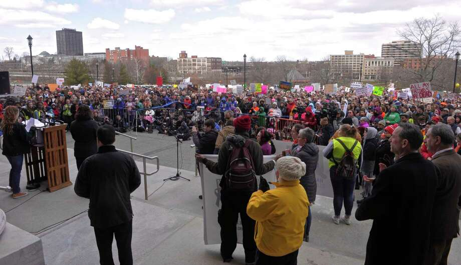 Photograph from the March for Our Lives rally, in Hartford, on Saturday, which an anti-gun-violence rally organized by students.  At least nine marches are scheduled to take place in Connecticut in conjunction with the March for Our Lives in Washington, D.C., with hundreds more planned across the country. Saturday, March 24, 2018, in Hartford, Conn. Photo: H John Voorhees III, Hearst Connecticut Media / The News-Times