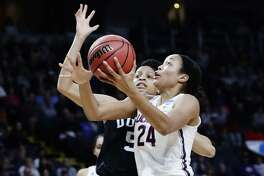 UConn's Napheesa Collier drives past Duke's Leaonna Odom on Saturday.