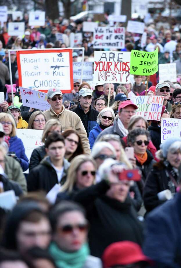 The lower half of the Guilford Green was packed with thousands of people listening to U.S. Senator Chris Murphy at the March for our Lives event in Guilford on March 24, 2018. Photo: Arnold Gold / Hearst Connecticut Media / New Haven Register