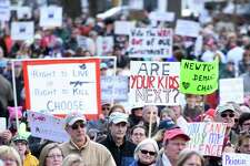 The lower half of the Guilford Green was packed with thousands of people listening to U.S. Senator Chris Murphy at the March for our Lives event in Guilford on March 24, 2018.