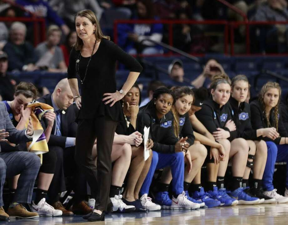 Duke coach Joanne P. McCallie reacts during Saturday's regional semifinal game against UConn in Albany, N.Y. Photo: Frank Franklin II / Associated Press / Copyright 2018 The Associated Press. All rights reserved.