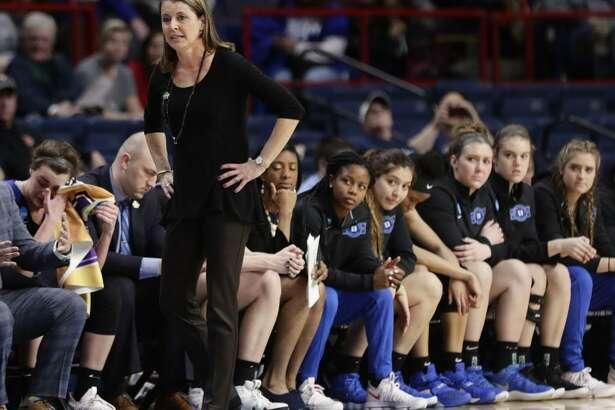 Duke coach Joanne P. McCallie reacts during Saturday's regional semifinal game against UConn in Albany, N.Y.