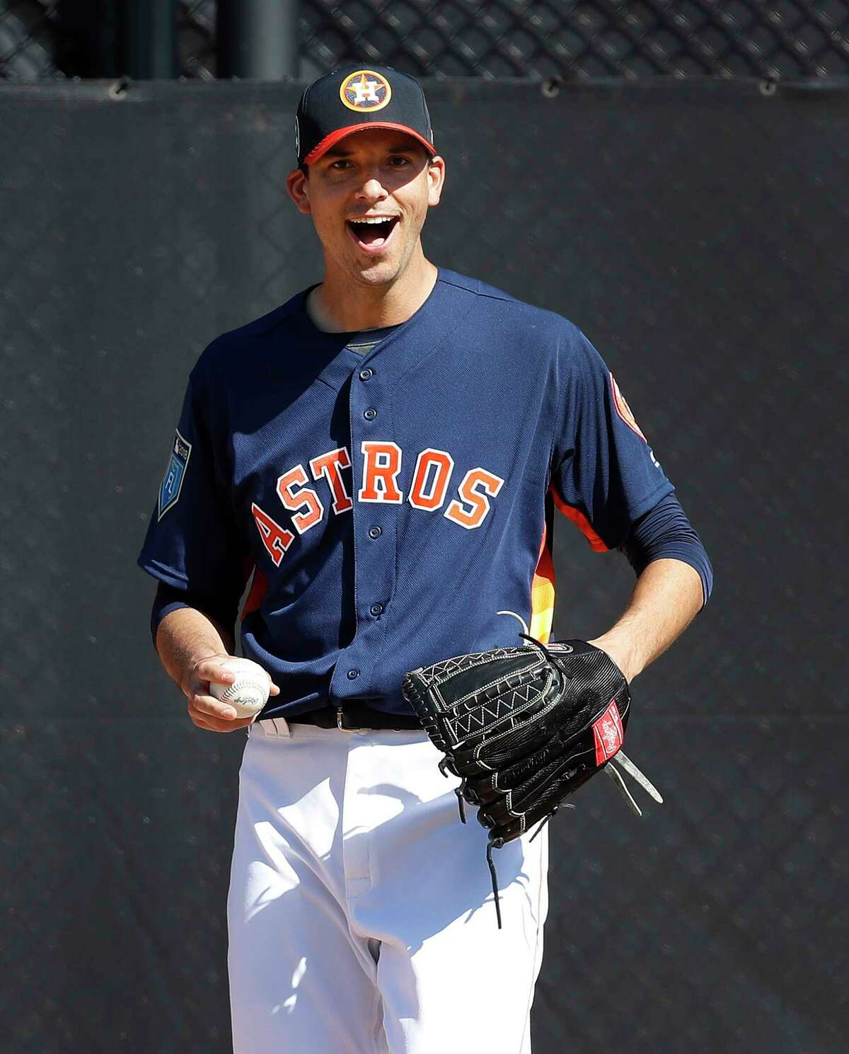 Houston Astros RHP pitcher Charlie Morton (50) reacts while throwing a bullpen session as the pitchers and catchers worked out during spring training at The Ballpark of the Palm Beaches, Thursday, Feb. 15, 2018, in West Palm Beach ( Karen Warren / Houston Chronicle )