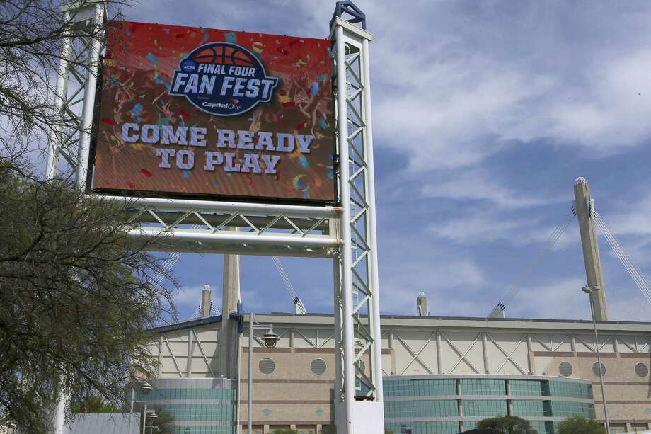 The Alamodome has a new larger marquee in time for the upcoming Final Four event. It has a screen size of 24 feet high by 30 feet wide. The old marquee was 12 feet high by 30 feet wide. It weighs 8,500 pounds and cost $546,000.00. The previous marquee was installed in 2008 prior to the 2008 NCAA Men's Final Four. Photo: John Davenport, STAFF / San Antonio Express-News / ©John Davenport/San Antonio Express-News