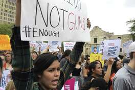 Students and their supporters rally in front of the Alamo shrine during the March for Our Lives San Antonio on Saturday. The event was one of many such marches held across the nation, prompted by the school shootings at Stoneman Douglas High School in Parkland, Fla.