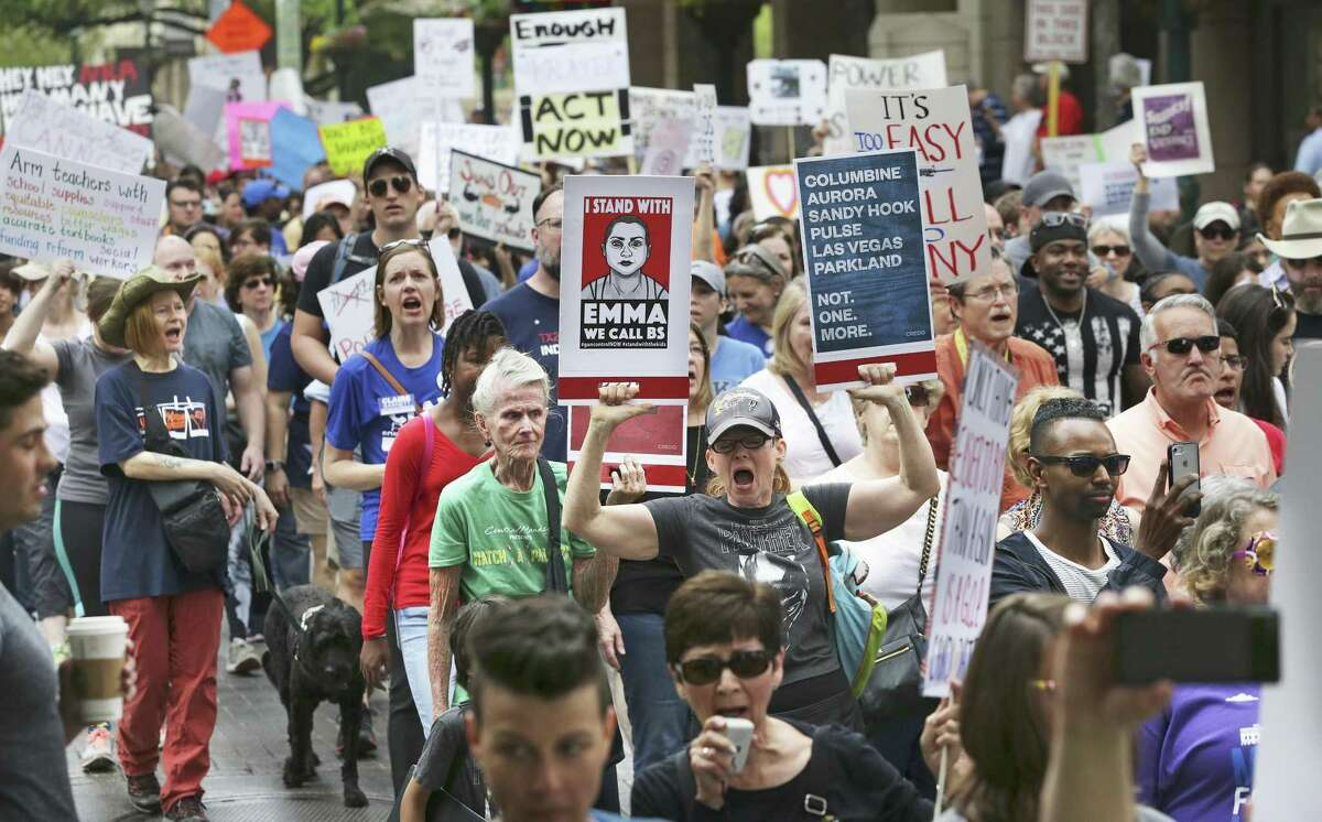 The large crowds remained peaceful and orderly during the March For Our Lives San Antonio event Saturday. Marchers called for gun reform in the wake of a series of school shootings that have occurred across the country.