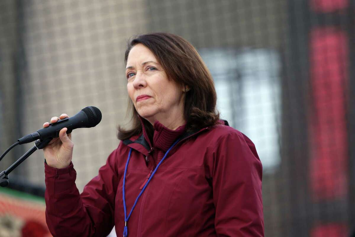 Senator Maria Cantwell speaks to crowds during last month's