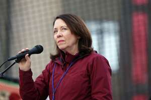"Senator Maria Cantwell speaks to crowds during the ""March for Our Lives"" demonstration at Cal Anderson Park, Saturday, March 24, 2018. Hundreds of thousands marched in demonstrations across the country in support of gun legislation. Seattle protesters walked from Cal Anderson to the Seattle Center."