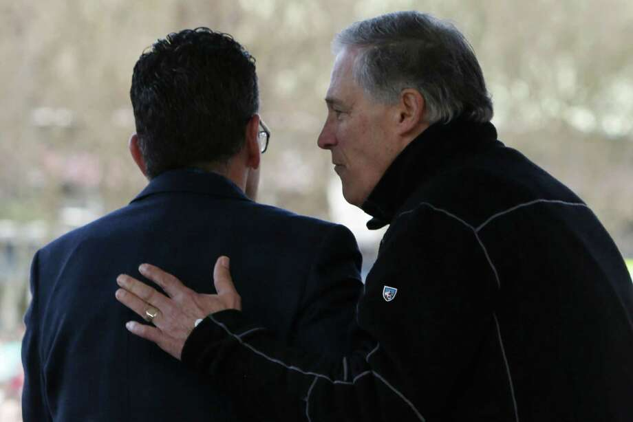 "Washington Governor Jay Inslee, right, speaks to Connecticut Governor Dannel Malloy during the ""March for Our Lives"" demonstration, Saturday, March 24, 2018. Inslee is chairman of the Democratic Governors Association.  Photo: GENNA MARTIN, SEATTLEPI.COM / Other"