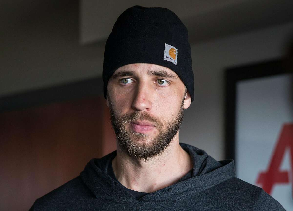 San Francisco Giants pitcher Madison Bumgarner speaks to reporters during media availability ahead of the San Francisco Giants FanFest at AT&T Park Friday, Feb. 9, 2018 in San Francisco, Calif.