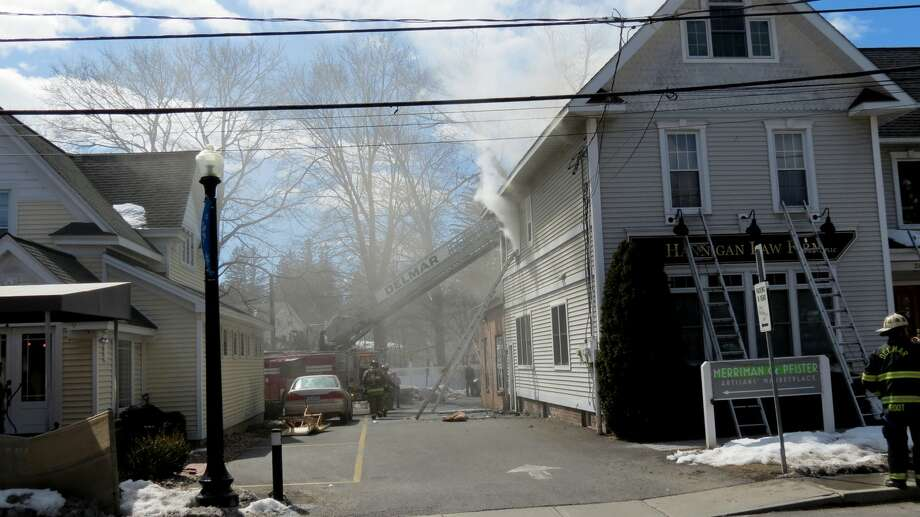 A fire Saturday at Delmar's Four Corners (photo by Tom Heffernan) Photo: Picasa