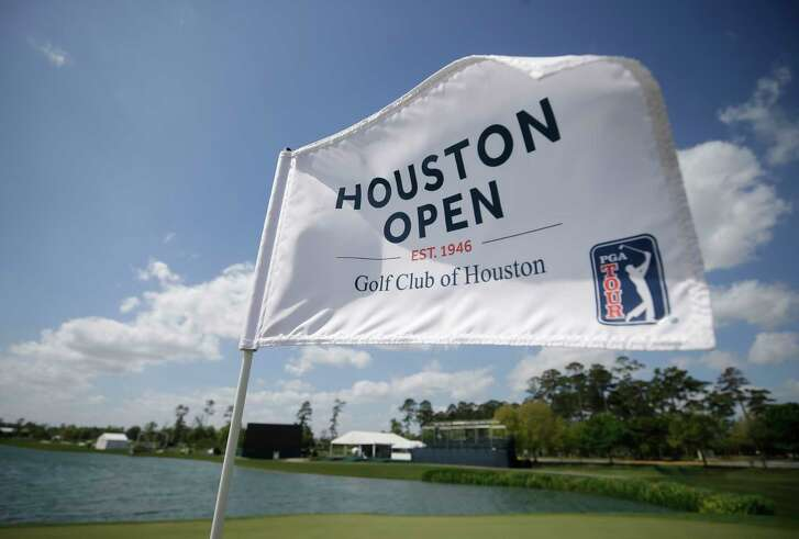 The 18th green flag for the upcoming Houston Open at the Golf Club of Houston in Humble.
