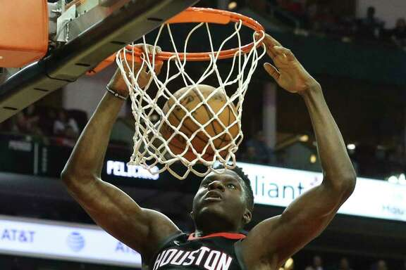 Rockets center Clint Capela dunks for two of his 18 points on 9-for-12 shooting against the Pelicans. He also had 16 rebounds and six blocked shots Saturday night.