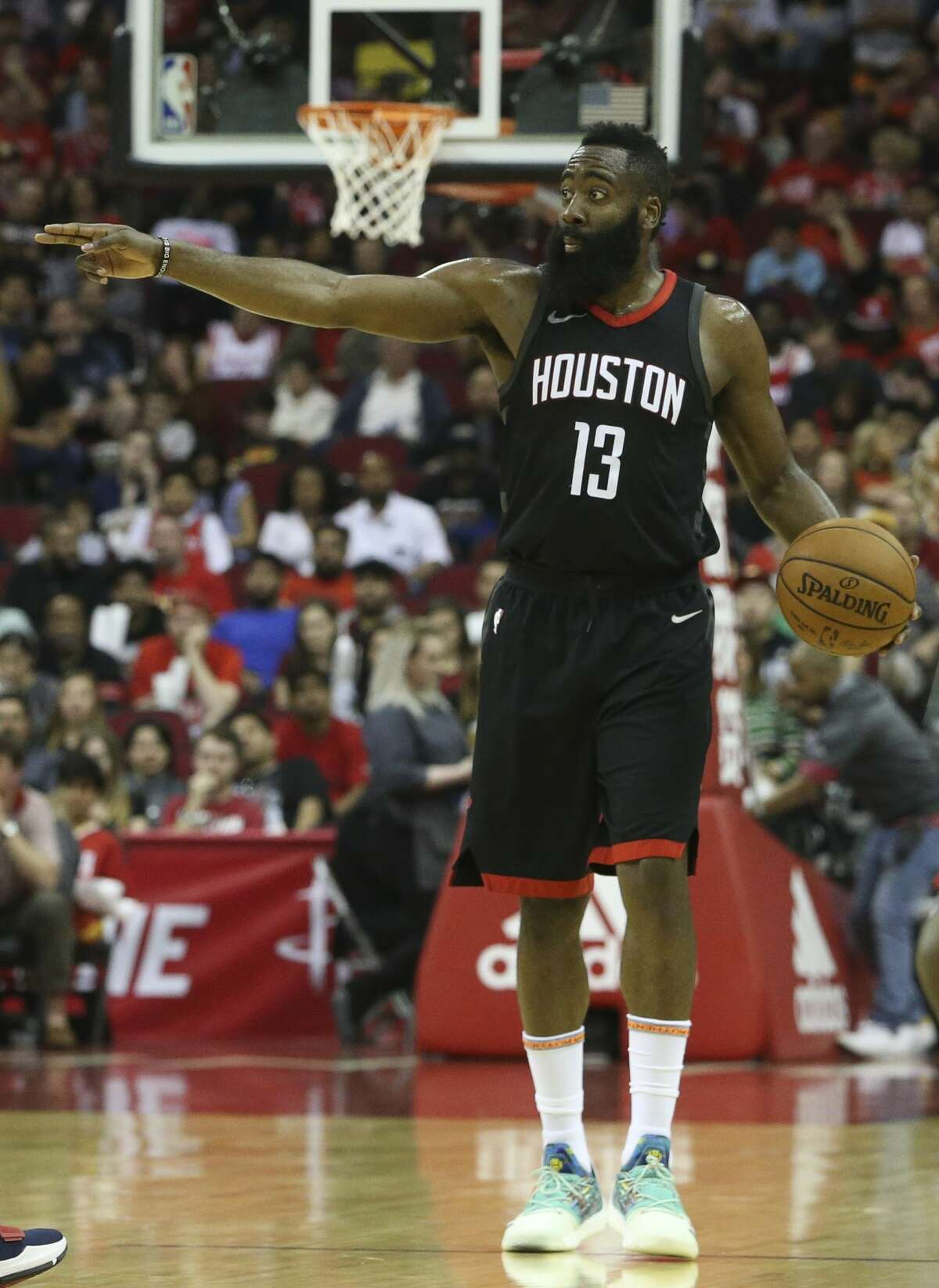 Houston Rockets guard James Harden (13) instructs his teammates during the first quarter of the NBA game against the New Orleans Pelicans at Toyota Center on Saturday, March 24, 2018, in Houston. ( Yi-Chin Lee / Houston Chronicle )