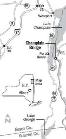 Locater map of Champlain Bridge. (Jeff Boyer / Times Union)