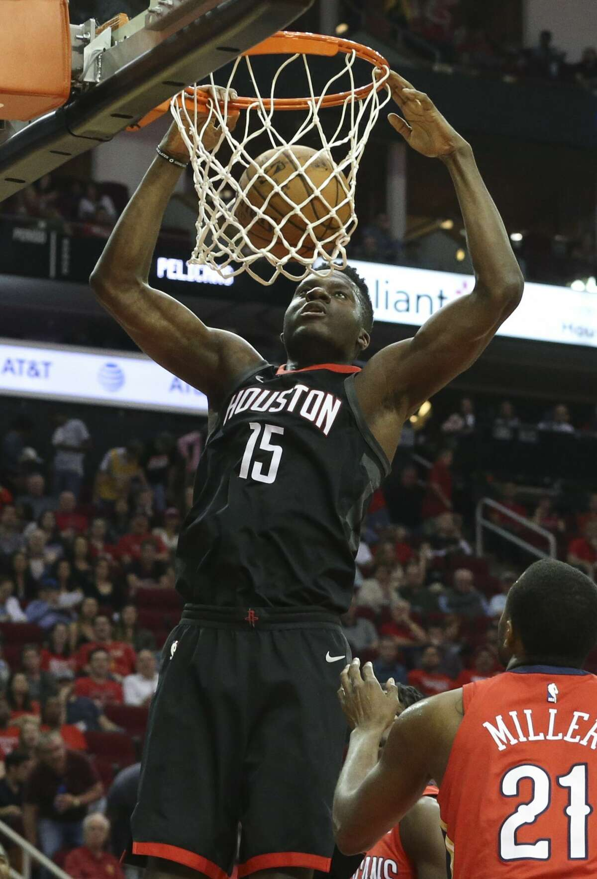 Houston Rockets center Clint Capela (15) dunks the ball during the first quarter of the NBA game against the New Orleans Pelicans at Toyota Center on Saturday, March 24, 2018, in Houston. ( Yi-Chin Lee / Houston Chronicle )