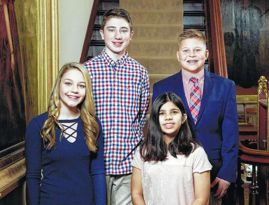 Seven eighth-graders will participate as junior attendants during the upcoming Beaux Arts Ball. They include Isabella Grojean (from left), Braden Cors, Valerie Eyer and Myles Alexander. Not pictured are Nathaniel Colen, Sophie Homolka and Zachary Mays. Photo: Photo Provided