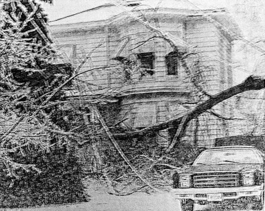 Wires and tree limbs litter a yard on Park Street during an ice storm in Jacksonville this weekend in 1978. Photo: Journal-Courier