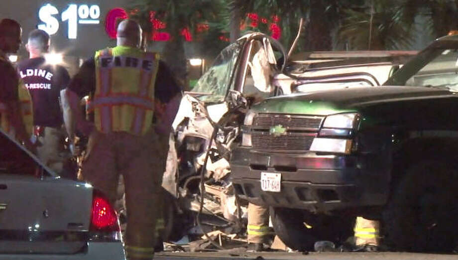 One person was killed and four others injured in a pair of overnight crashes in northern Harris County. Photo: Metro Video