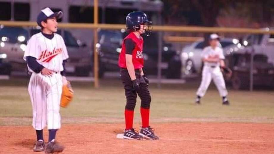 Cody Corbell stands on second base during Game 1 of Pasadena's series with the Hadano, Japan ballplayers. Photo: Courtesy