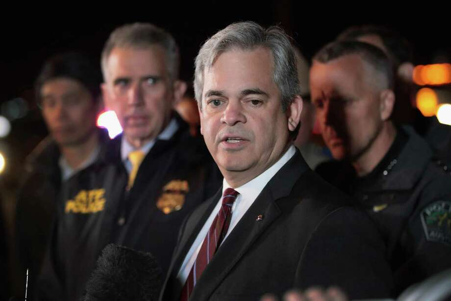 ROUND ROCK, TX - MARCH 21:  Austin Mayor Steve Adler speaks to the media near the location where the suspected package bomber was killed in suburban Austin on March 21, 2018 in Round Rock, Texas. The 24-year-old suspect blew himself up inside his car as police approached the vehicle. A massive search had been underway by local and federal law enforcement officials in Austin and the surrounding area after several package bombs had detonated in recent weeks, killing two people and injuring several others.  (Photo by Scott Olson/Getty Images) Photo: Scott Olson, Staff / Getty Images / 2018 Getty Images