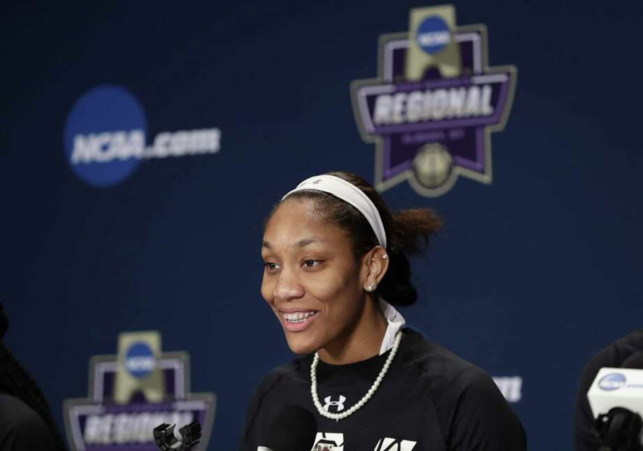 South Carolina star A'ja Wilson speaks during a NCAA Tournament press conference on Sunday in Albany, N.Y. Photo: Frank Franklin II / Associated Press / Copyright 2018 The Associated Press. All rights reserved.