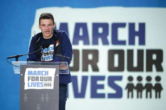 WASHINGTON, DC - MARCH 24:  Marjory Stoneman Douglas High School Student Cameron Kasky addresses the March for Our Lives rally on March 24, 2018 in Washington, DC. Hundreds of thousands of demonstrators, including students, teachers and parents gathered in Washington for the anti-gun violence rally organized by survivors of the Marjory Stoneman Douglas High School shooting on February 14 that left 17 dead. More than 800 related events are taking place around the world to call for legislative action to address school safety and gun violence.  (Photo by Chip Somodevilla/Getty Images)