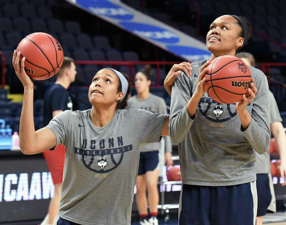 UConn's Napheesa Collier, left, and Azura' Stevens during practice on Friday at the Times Union Center in Albany, NY. Collier has 26 assists and four turnovers in her last six games. Photo: John Carl D'Annibale / Albany Times Union / 20043279A