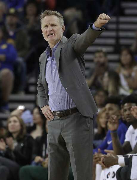 Golden State Warriors coach Steve Kerr gestures during the first half of his team's NBA basketball game against the Atlanta Hawks in Oakland, Calif., Friday, March 23, 2018. (AP Photo/Jeff Chiu) Photo: Jeff Chiu, Associated Press