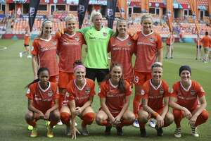 Houston Dash starting lineup poses for a photo before taking on Chicago Red Stars for the season opener NWSL game at BBVA Stadium on Sunday, March 25, 2018, in Houston. ( Yi-Chin Lee / Houston Chronicle )