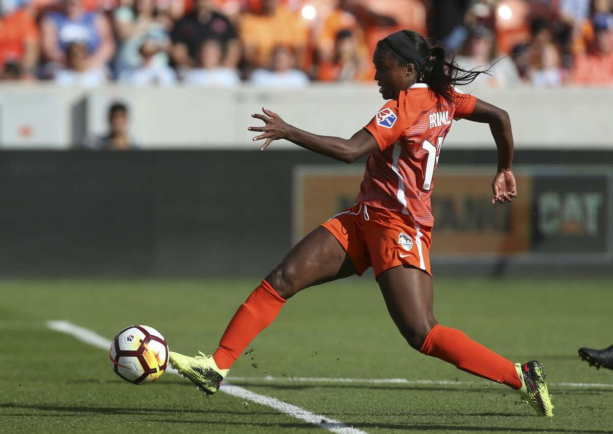 Houston Dash forward Nichelle Prince (14) takes a shot at the goal during the second half of the season opener NWSL game against the Chicago Red Stars at BBVA Stadium on Sunday, March 25, 2018, in Houston. The Houston Dash and the Chicago Red Stars tied at 1-1. ( Yi-Chin Lee / Houston Chronicle )